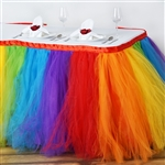 17ft Tantalizing 8 Layer Tulle Table Skirt - Rainbow