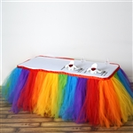 21ft Tantalizing 8 Layer Tulle Table Skirt - Rainbow