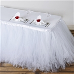 14ft Tantalizing 8 Layer Tulle Table Skirt - White