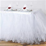 17ft Tantalizing 8 Layer Tulle Table Skirt - White