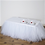 21ft Tantalizing 8 Layer Tulle Table Skirt - White