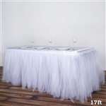 17FT White Two Layered Pleated Tulle Tutu Wedding Party Banquet Table Skirt with Satin Edge