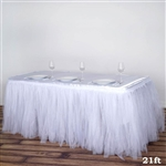21FT White Two Layered Pleated Tulle Tutu Wedding Party Banquet Table Skirt with Satin Edge