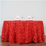 "120"" Round (Grandiose Rosette) Tablecloth - Coral"