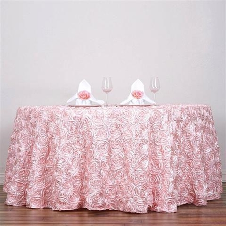 "120"" Round (Grandiose Rosette) Tablecloth - Rose Gold/Blush"