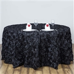 "120"" Round (Grandiose Rosette) Tablecloth - Black"