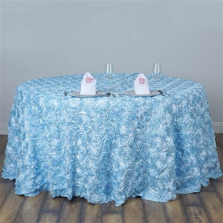 "120"" Round (Grandiose Rosette) Tablecloth - Light Blue"