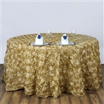 "120"" Round (Grandiose Rosette) Tablecloth - Champagne"