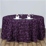 "120"" Round (Grandiose Rosette) Tablecloth - Eggplant"