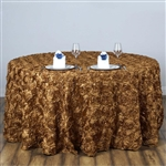 "120"" Round (Grandiose Rosette) Tablecloth - Gold"