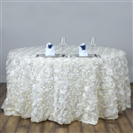 "120"" Round (Grandiose Rosette) Tablecloth - Ivory"