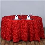 "120"" Round (Grandiose Rosette) Tablecloth - Red"