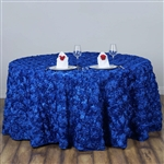 "120"" Round (Grandiose Rosette) Tablecloth - Royal Blue"