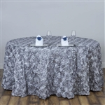 "120"" Round (Grandiose Rosette) Tablecloth - Silver"