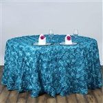 "120"" Round (Grandiose Rosette) Tablecloth - Turquoise"