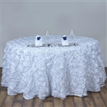 "120"" Round (Grandiose Rosette) Tablecloth - White"