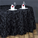 "132"" Round (Grandiose Rosette) Tablecloth - Black"