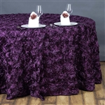 "132"" Round (Grandiose Rosette) Tablecloth - Eggplant"
