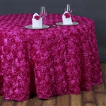 "132"" Round (Grandiose Rosette) Tablecloth - Fushia"