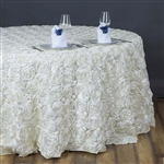 "132"" Round (Grandiose Rosette) Tablecloth - Ivory"