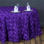 "132"" Round (Grandiose Rosette) Tablecloth - Purple"
