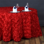 "132"" Round (Grandiose Rosette) Tablecloth - Red"