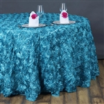 "132"" Round (Grandiose Rosette) Tablecloth - Turquoise"