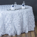 "132"" Round (Grandiose Rosette) Tablecloth - White"