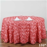 "132"" Round (Grandiose Rosette) Tablecloth - Rose Quartz"