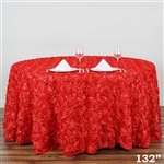 "132"" Round (Grandiose Rosette) Tablecloth - Coral"