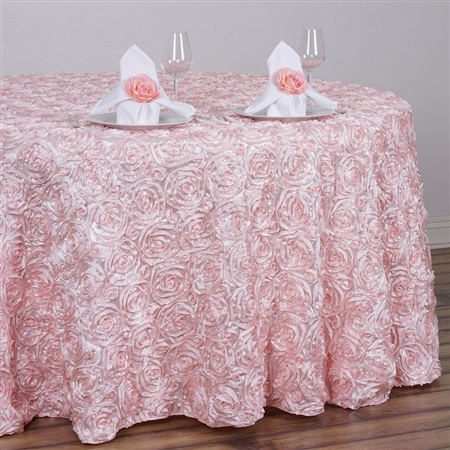 "132"" Round (Grandiose Rosette) Tablecloth - Rose Gold/Blush"