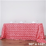 "90x132"" Rectangle (Grandiose Rosette) Tablecloth - Rose Quartz"