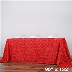 "90x132"" Rectangle (Grandiose Rosette) Tablecloth - Coral"