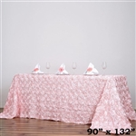 "90x132"" Rectangle (Grandiose Rosette) Tablecloth - Rose Gold/Blush"