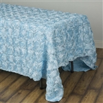 "90x132"" Rectangle (Grandiose Rosette) Tablecloth - Light Blue"