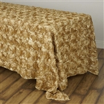 "90x132"" Rectangle (Grandiose Rosette) Tablecloth - Champagne"