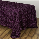 "90x132"" Rectangle (Grandiose Rosette) Tablecloth - Eggplant"
