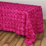 "90x132"" Rectangle (Grandiose Rosette) Tablecloth - Fushia"