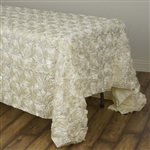"90x132"" Rectangle (Grandiose Rosette) Tablecloth - Ivory"