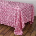 "90x132"" Rectangle (Grandiose Rosette) Tablecloth - Pink"