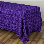 "90x132"" Rectangle (Grandiose Rosette) Tablecloth - Purple"