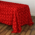 "90x132"" Rectangle (Grandiose Rosette) Tablecloth - Red"