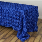 "90x132"" Rectangle (Grandiose Rosette) Tablecloth - Royal"