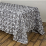 "90x132"" Rectangle (Grandiose Rosette) Tablecloth - Silver"