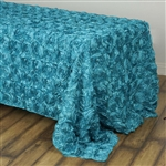 "90x132"" Rectangle (Grandiose Rosette) Tablecloth - Turquoise"