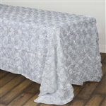 "90x132"" Rectangle (Grandiose Rosette) Tablecloth - White"