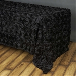 "90""x156"" Rectangle (Grandiose Rosette) Tablecloth - Black"