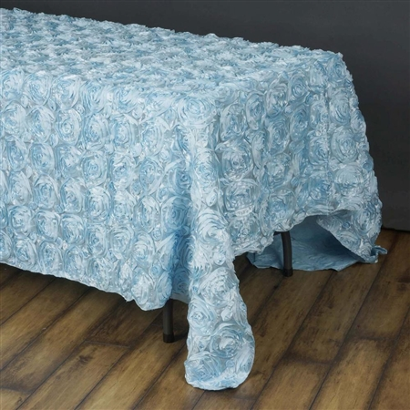 "90""x156"" Rectangle (Grandiose Rosette) Tablecloth - Light Blue"