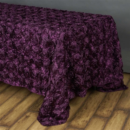 "90""x156"" Rectangle (Grandiose Rosette) Tablecloth - Eggplant"