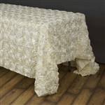 "90""x156"" Rectangle (Grandiose Rosette) Tablecloth - Ivory"